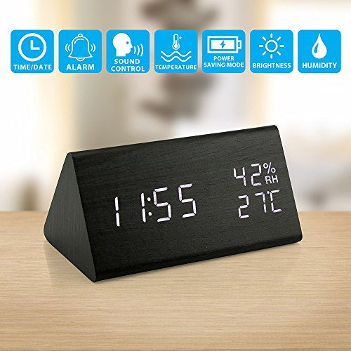 Oct17 Wooden Alarm Clock, Wood LED Digital Desk Clock, UPGRADED With Time Temperature, Adjustable Brightness, 3 Set of Alarm and Voice Control, Humidity Displaying - Black - Wood Mini Clock