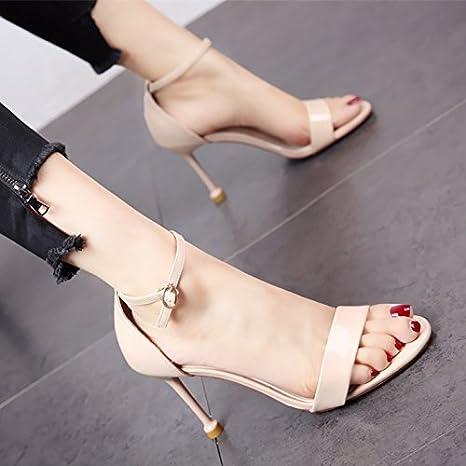 YMFIE Estate dita sottili di lacca e tacco alto scarpe ladies' semplice moda comoda cinghia alla caviglia sandali...