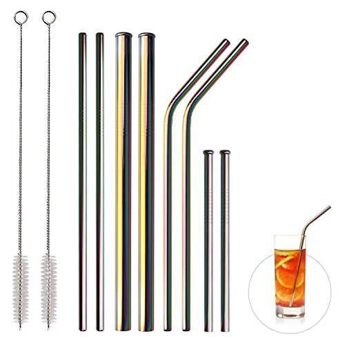 8Pcs 2 Wide 2 Long 2 Straight 2 Short Reusable Stainless Steel Straws for Yeti/Rtic/Ozark Metal Smoothies Straws for 30&20 oz Tumblers+2 Brushes+1 Black Storage Pouch From Elitea (Rainbow Multi-Color)