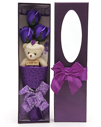 Romantic Purple Flower Bouquet Scented Roses Gift Box With Cute Teddy Bear Best Anniversary Birthday Mother's Day Valentine's Gift sf0304A