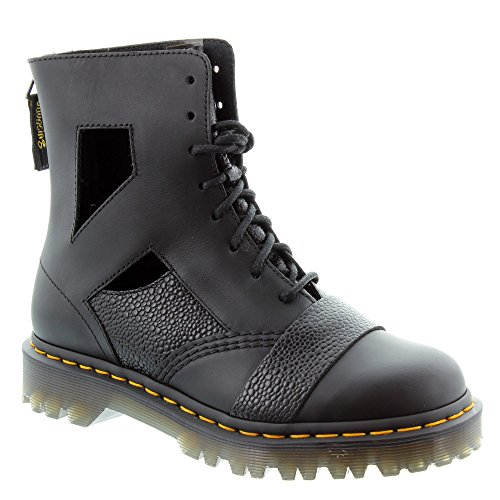Dr. Martens Women's Katrinia Cut Out 8-Eye Boot,Black Lausanne/Stone,UK 6 M by Dr. Martens