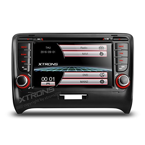 XTRONS 7 Inch HD Digital Touch Screen Car Stereo In-Dash DVD Player with GPS Navigation Dual Channel CANbus Screen Mirroring Function for Audi TT MK2 Kudos Map Card Included by XTRONS