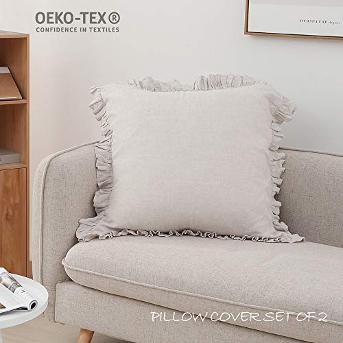 Simple&Opulence 100% Linen Stone Washed Euro Sham with Ruffle 26x26 Inch Pillow Cover Set of 2(Linen, 26