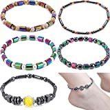 Yunanwa 6 Pack Ankle Chain Bracelet Barefoot Beach Boho Beads Stone Foot Jewelry Set for Women Girls