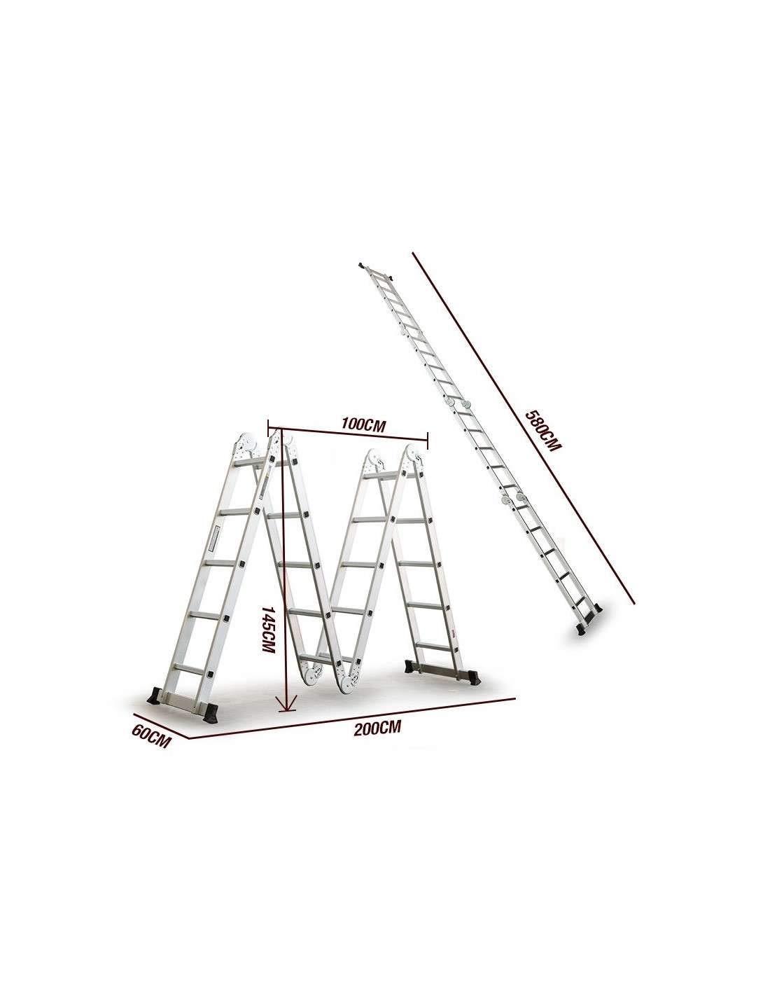 Escalera Multifunción de aluminio 5,75M Plegable 6 en 1 Multiuso ...