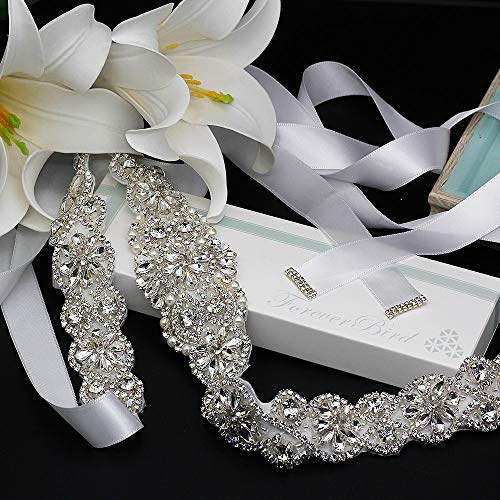 "ForeverBird 2019 New 22"" Long Bridal Rhinestone Wedding Belts Crystal Wedding Dress Sashes and Belt (White Ribbon,Silver)"