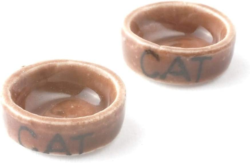 Melody Jane Dollhouse 2 Stone Cat Food Bowl Water Dish Miniature Pet Accessory 1:12 Scale