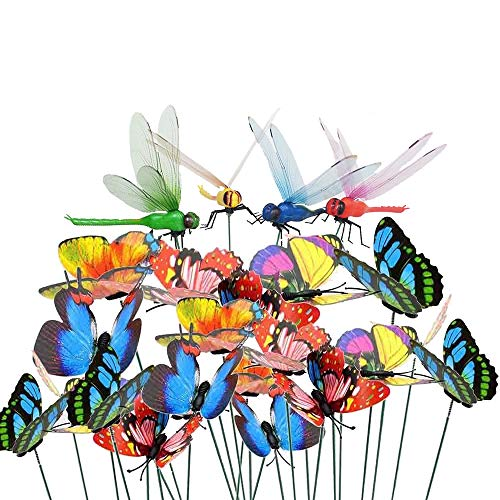 Antallcky 60pcs Dragonfly Butterfly Stakes Garden Ornaments Yard Planter Flower Pot Bed Garden Decor Butterflies Christmas Decorations,Artificial Dragonfly Butterflies on Metal Wire Plant Stake Stems (Butterfly Garden Ornaments Metal)