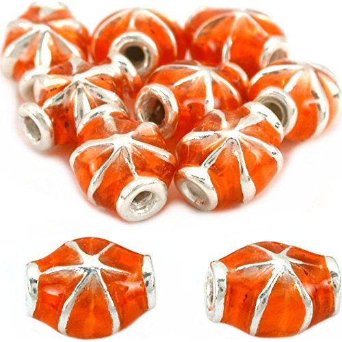 Fluted Sterling Silver Beads Orange Enamel 7mm 10Pcs Approx.