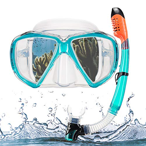 HUBO SPORTS Snorkel Mask with Tempered Glass,Anti-Scratch Panoramic View No Leaking Scuba Diving Mask with Dry Top Design(Lake Blue)