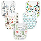 Premium, Organic Cotton Toddler Bibs, Unisex 5-Pack Extra Large Baby Bibs for Boys and Girls by KiddyStar, Baby Shower Gift for Feeding, Drooling, Teething, Adjustable 5 Positions (Bears & Whales)