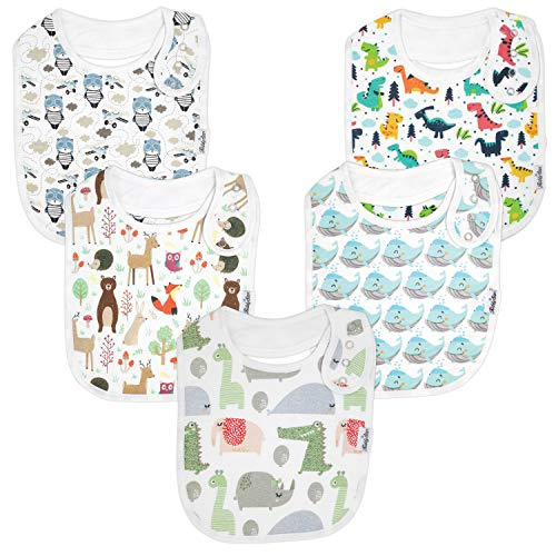 (Premium, Organic Cotton Toddler Bibs, Unisex 5-Pack Extra Large Baby Bibs for Boys and Girls by KiddyStar, Baby Shower Gift for Feeding, Drooling, Teething, Adjustable 5 Positions (Bears & Whales))