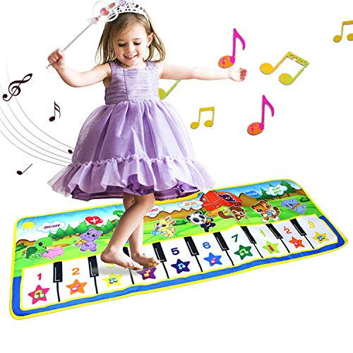 ALANGDUO Musical Mats for Kids, Piano Keyboard Play Mat Music Dance Carpet Animals Blanket Touch Playmat Educational Gifts Toys for Boys Girls Baby Infant Kids (Green Small Size)