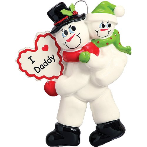 Personalized I Love Daddy Christmas Tree Ornament 2019 - Snowman Father Carry Child Santa Hat Heart Best Greatest Day Hug Parent Winter Family of 2 Daughter Son Year - Free Customization (One) (Christmas Ornament Daddy Daughter)