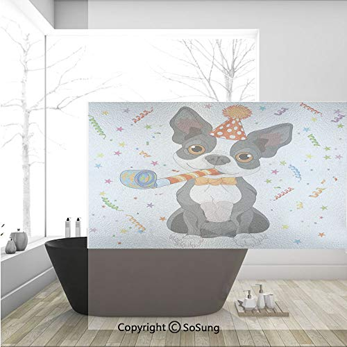 3D Decorative Privacy Window Films,Black and White Boston Terrier with Colorful Party Backdrop,No-Glue Self Static Cling Glass Film for Home Bedroom Bathroom Kitchen Office 36x24 Inch]()