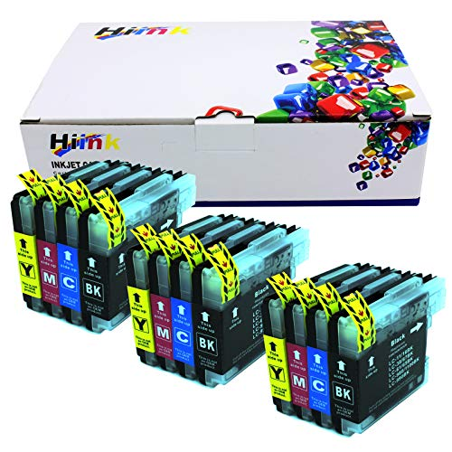 HIINK Compatible Ink Cartridge Replacement for Brother LC61 LC65 LC-61 LC-65 Ink use with DCP-J140W MFC-J220 MFC-490CW MFC-295CN DCP-165C MFC-J630W MFC-J615W MFC-290C MFC-495CW(3BK 3C 3M 3Y,12-PK)