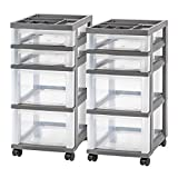 IRIS 4-Drawer Rolling Storage Cart with Organizer Top, Gray, 2 Pack