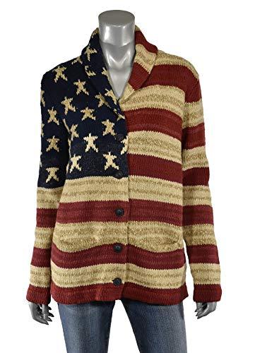 Women's 100% Baby Alpaca Sweater Cardigan, USA Flag, XXL