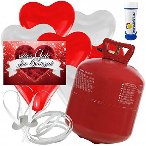 50 Herz Luftballons freie Farbwahl mit Helium Ballon Gas + 50 Weitflugkarten Alles Gute zur Hochzeit + Gratis Doriantrade Seifenblasen 60 ml Hochzeit Valentinstag Komplettset (Rot/Weiß)