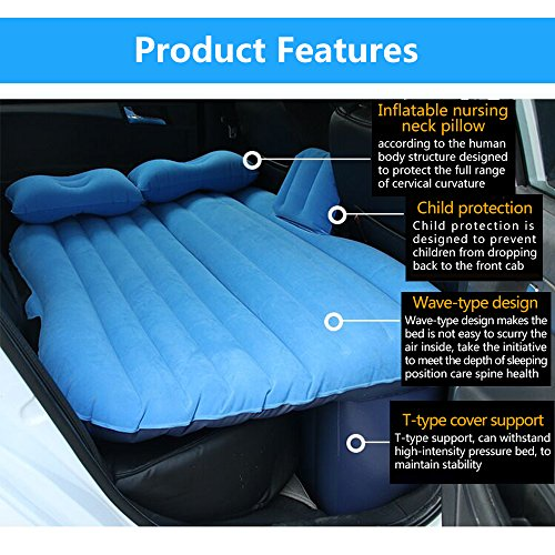 NEX Car Inflatable Mattress Camping Air Bed Car Mobile Cushion Inflation  Back Seat Extended Couch with Motor Pump, Two Pillows for Sleep Rest and