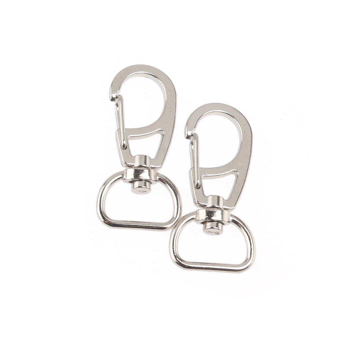 WINOMO 10pcs Metal Swivel Eye Lobster Snap Clasp Hook for Keychain Keyring (Silver)