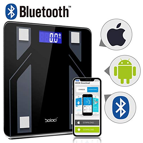 Bluetooth Body Fat Scale,Digital Body Weight Bathroom Scale,Tempered Glass, 400 Pounds Scales Weight Scale with iOS Android App Body Fat Scale for Body Weight,Fat%, BMI, Water, Muscle Mass,Basal Me ()