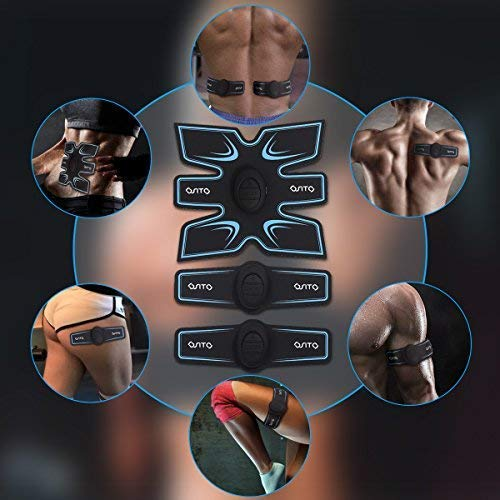AOSTO Electric Stimulators,EMS Muscle Toner, ab stimulators, Gym Workout And Home Fitness Body waist muscles Stimulator Fitness Equipment (Blue, Whole Machine)