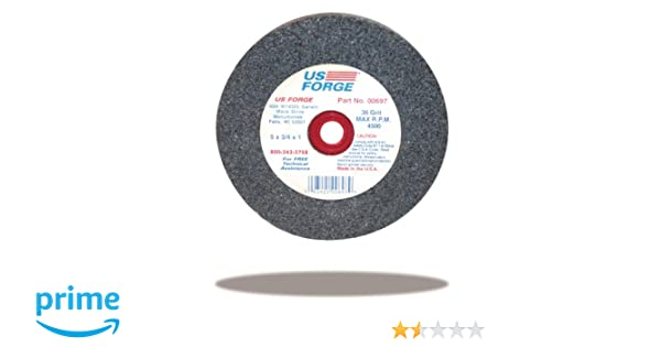 US Forge 697 Vitrified Grinding Wheel 5-Inch by 3//4-Inch by 1-Inch 36 Grit 00697