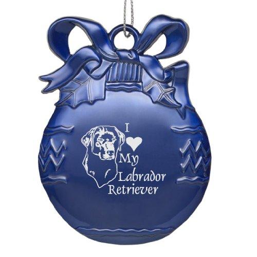 (Solid Pewter Christmas Ornament - I Love My Labrador Retriever - Blue)