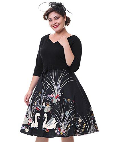 ZAFUL Mujer Elegantes Vestido Retro Vintage Verano Vestidos de Fiesta Noche Tallas Grandes Mangas Cortas Rockabilly 4XL: Amazon.es: Ropa y accesorios