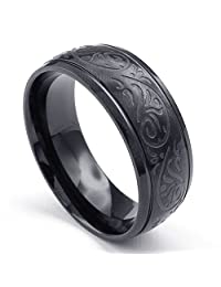 TEMEGO Jewelry Womens Stainless Steel Ring, Vintage Flower Engraved Band, Black