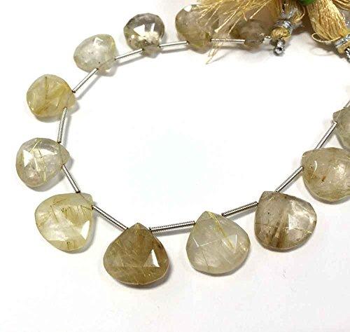 Faceted Rutilated Quartz Strand - on sale golden rutilated quartz faceted heart shape loose gemstone briolettes beads 8