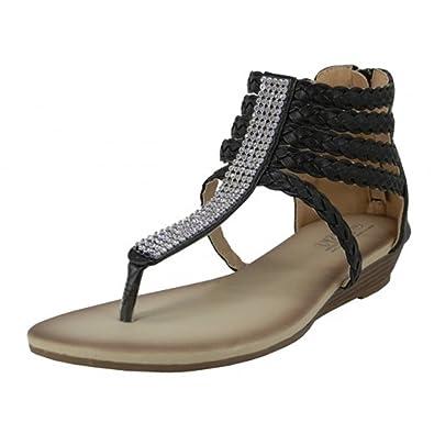 f5e647421 Wholesale (18 Pairs) Women s Heel Zipper Braided Gladiator Sandals with  Rhinestone Top (Black