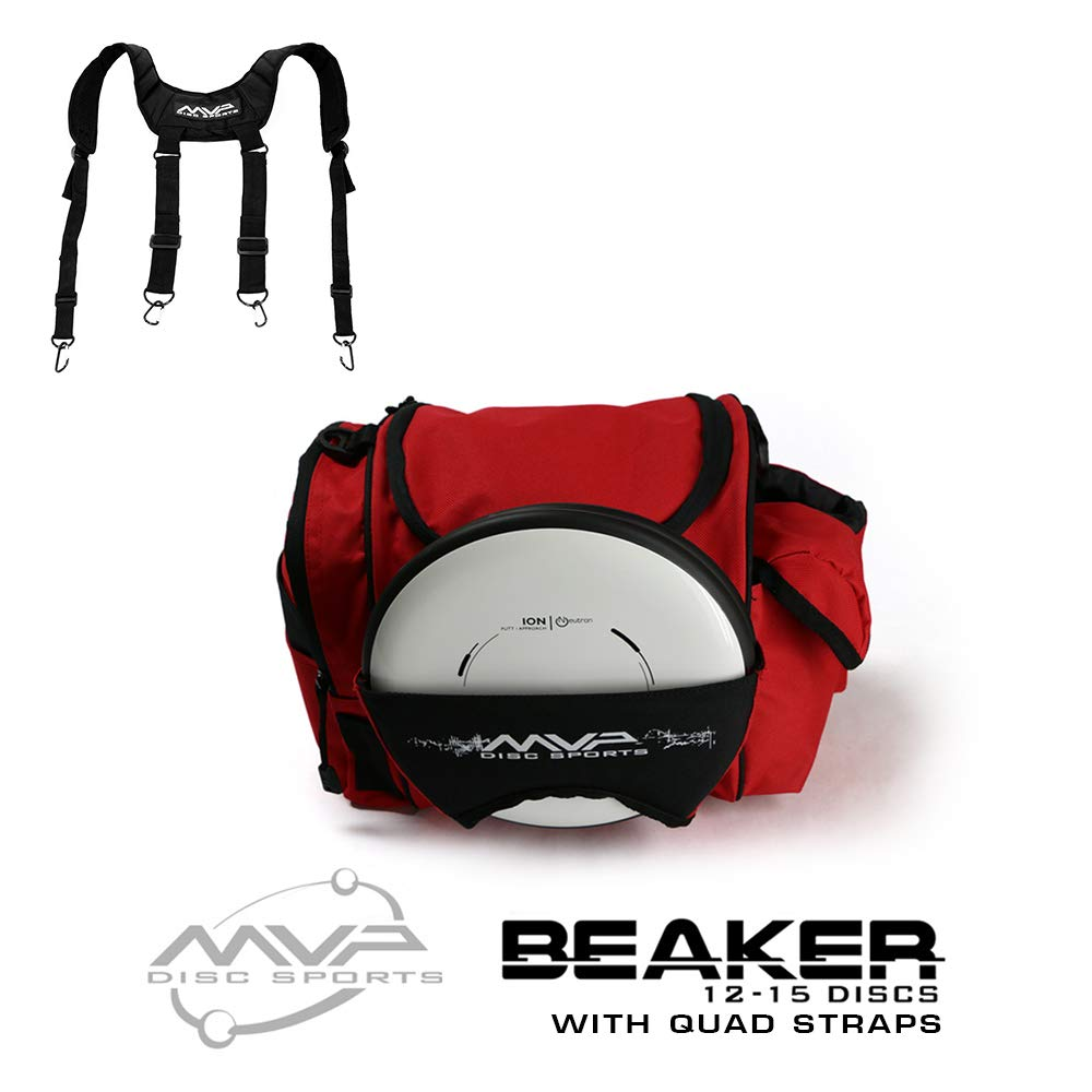 MVP Disc Sports MVP Beaker Competition Disc Golf Bag + Quad Straps - Red by MVP Disc Sports