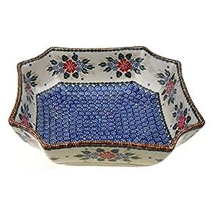 Ceramika Boleslawiecka Kalich Original Polish Hand Made Pottery Octagonal Decorative Bowl (7.88 x 2.5 Inches)