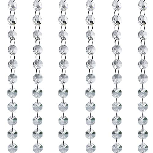 Crystal Beads for Chandelier 20 Ft Clear Glass Beads Lamp Chain for Wedding Party DIY Christmas Crystal Garland Decoration