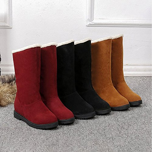 PLANO Invierno Black comodidad Mujer botas de negro para HSXZ tacón PUNTA REDONDA Otoño PU Forro ocasionales vino Mid de Cuero botas Calf Zapatos de de pelusas marrón Nubuck xPnIZ