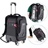 Neewer 2-in-1 Rolling Camera Backpack Trolley Case with 4 Double Spinner Wheels - Anti-shock Detachable Padded Compartment, Hidden Pull Bar, for DSLR,Tripod,Flash,Lens, Laptop for Travelling(Black)