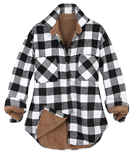 ililily Women Plaid Buffalo Checkered Sherpa Lined Flannel Shirt Trucker Jacket , Buffalo Black White,Medium -