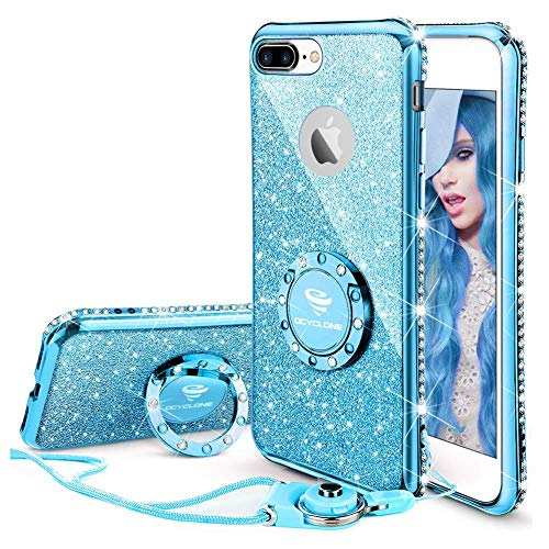 (OCYCLONE iPhone 8 Plus Case, iPhone 7 Plus Case for Girl Women, Glitter Cute Girly Diamond Rhinestone Bumper with Ring Kickstand Protective Phone Case for iPhone 8 Plus / 7)