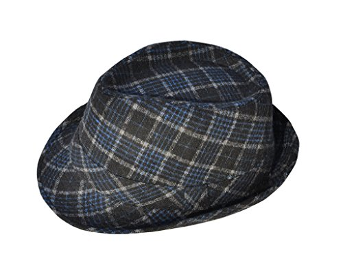 [TAUT Unisex Wool Blend Plaid Trilby Fedora Hat, Blue/Black] (Sailor Straw Hat)