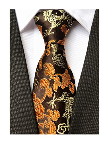 Paisley Copper (Mens Brown Copper Gold Ties Dragon Paisley Novelty Necktie Formal Dress Neckwear)