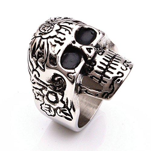 Nose'n Around Wolf Nose (Men's 316L Stainless Steel Retro Skull Ring Silver Gothic Vintage Biker Size 13)