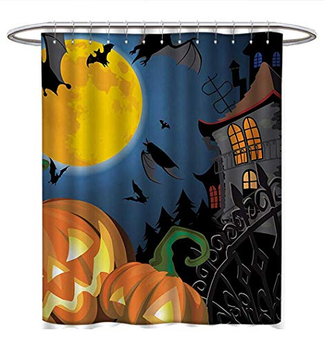 Halloween Shower Curtains Sets Bathroom Gothic Halloween Haunted House Party Theme Design Trick or Treat for Kids Print Bathroom Accessories W69 x L84 Multicolor for $<!--$38.80-->