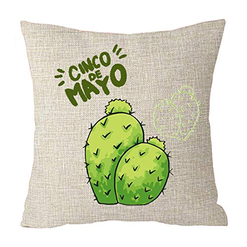Cinco Mayo Cactus Plant Cotton Linen Throw Patio Furniture Pillow Covers Cushion Cover Cover Couch Decorative Square 18x18 inch Decorative Pillow Family Birthday (2)
