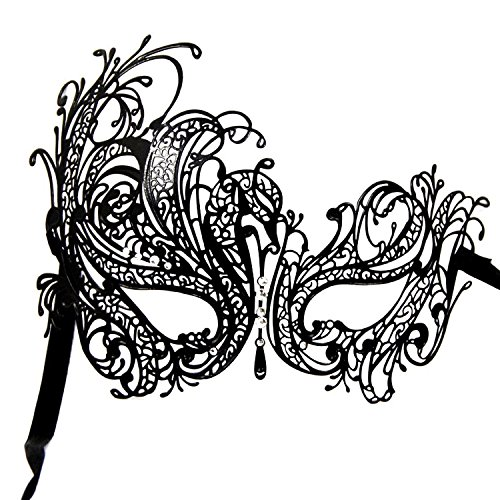 Fancy Masquerade Mask Swan Metal Venetian Party Mask with Rhinestones (Vintage Masquerade Mask compare prices)