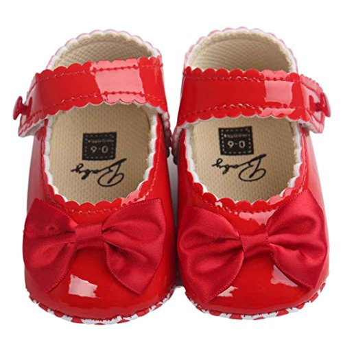 First Walking Shoes Longra® New Born Baby Girls Bowknot Decoration Anti-slip Sole Baby Sneaker Shoes (0~18 Month) (UK:1.5, Red)