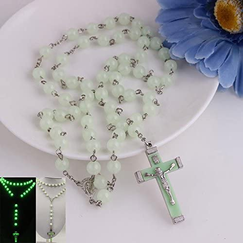 Ytbeauti Glow in Dark Plastic Rosary Beads Luminous Noctilucent Cross Necklace Catholicism Religious Jewelry Party Gift Beauty Accessory Co.ltd