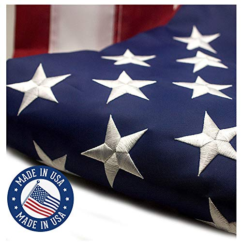 VSVO American Flag 3x5 ft - Made in USA - Embroidered Stars, Sewn Stripes, Brass Grommets U.S. Flags - 300D Nylon Built for Outdoor Use (Fabric Flag American Cotton)