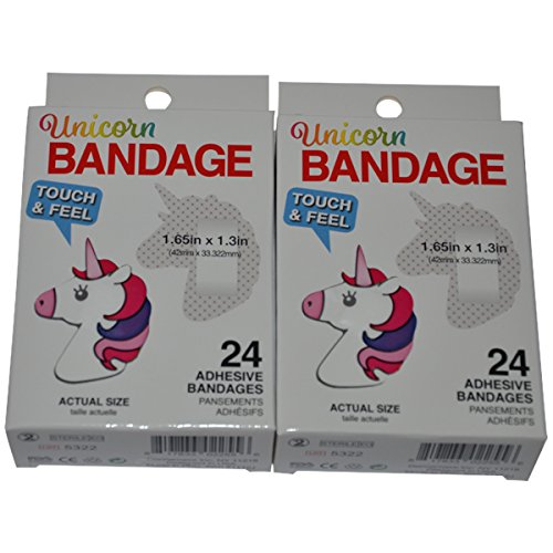 BioSwiss Novelty Bandages Self-Adhesive Funny First Aid, Novelty Gag Gift (2 boxes of 24 bandages) (Unicorn) by BioSwiss